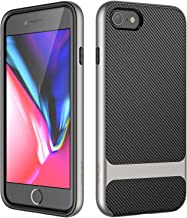 JETech Case for iPhone 8 and iPhone 7, 2-Layer Slim Protective Cover, Carbon Fiber, Grey