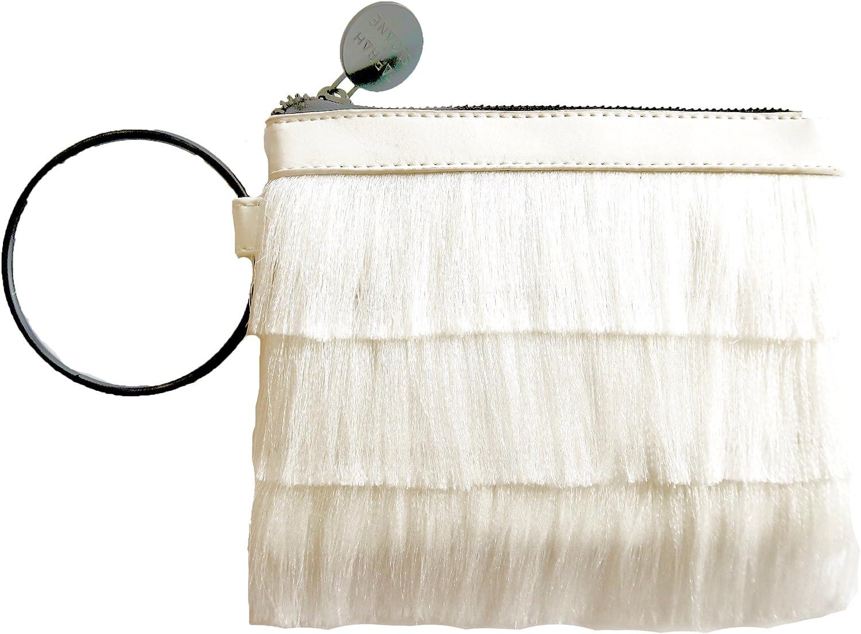 Farrah + Sloane Symi Metallic Fringe Wristlet Bracelet Clutch, White