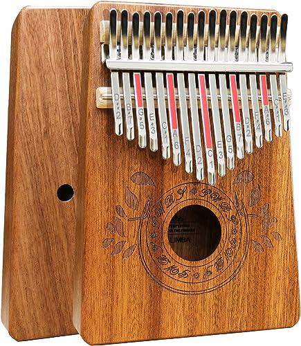 Piano à pouce Kalimba 17 touches avec instruction d'étude et marteau d'accord, Piano portable en bois africain Mbira ...