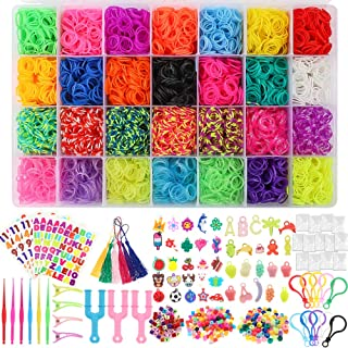 YIQIHAI 12000 Rainbow Rubber Bands Mega Refill Bracelet Making Kit Over 11000 Loom Bands in 28 Colors with S Clips, Charms, Beads, Backpack Hooks, Tassels, Hair Clips, Crochet Hooks, Y Loom, Stickers