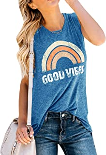 IRISGOD Women's Tank Tops Graphic Tees Good Vibes Loose Fit Sleeveless Crew Neck T Shirts Tops
