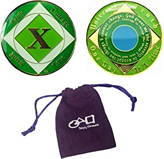 (Set Of 2 Items) 10 Year NA Tri-Plated Recovery Medallion, Clean Time Coin + Velvet Pouch