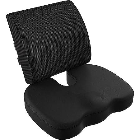 VIXA 低反発 クッションセット 背もたれ 腰まくら 座布団 サポート オフィス 椅子 車用 (A)