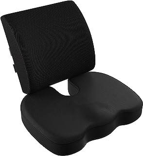 VIXA 低反発クッション セット ヘルスケア 座布団 背もたれ 腰痛 腰まくら クッション 坐骨神経痛 姿勢矯正 骨盤サポート オフィス 椅子 車用 (メッシュ)