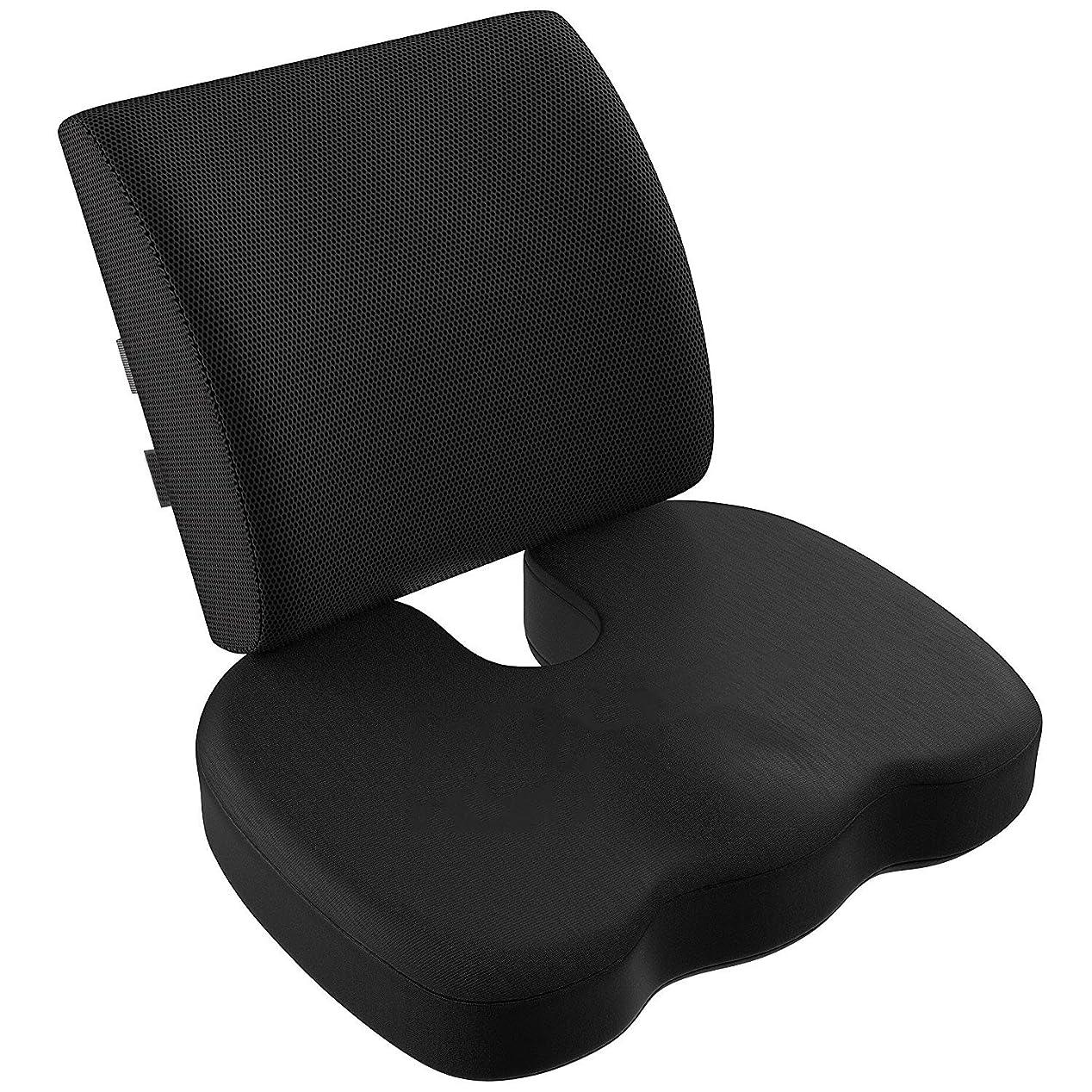 タワーエンジニアリング以前はVIXA 低反発クッション セット ヘルスケア 座布団 背もたれ 腰痛 腰まくら クッション 坐骨神経痛 姿勢矯正 骨盤サポート オフィス 椅子 車用 (メッシュ)