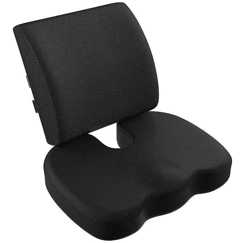 億一杯こしょうVIXA 低反発クッション セット ヘルスケア 座布団 背もたれ 腰痛 腰まくら クッション 坐骨神経痛 姿勢矯正 骨盤サポート オフィス 椅子 車用 (メッシュ)