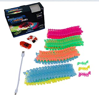 Mindscope Twister Tracks Micro Neon Glow in The Dark 3.4m of Flexible Assembly Track Race Series with Rechargeable Car