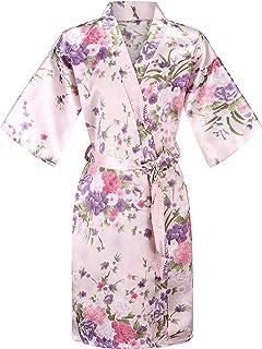EPLAZA Kids Girls Floral Satin Robe Bathrobe Sleepwear for Spa Party Birthday Wedding
