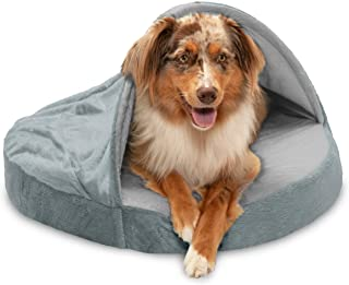 FurHaven Pet Dog Bed   Orthopedic Round Microvelvet Snuggery Burrow Pet Bed for Dogs & Cats, Gray, 26-Inch