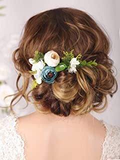 Kercisbeauty Bridal Floral Hair Pins Wedding Pearl Hair Combs Barrette Flower Set Hair Piece Evening Party Hair Accessories(Pack of 3)