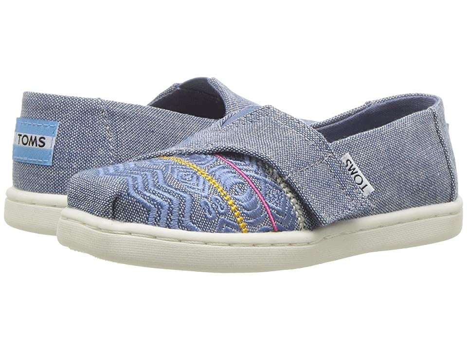 TOMS Kids Alpargata (Infant/Toddler/Little Kid) (Blue Global Embroidery/Chambray) Girl