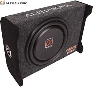 """Alphasonik AS12DF 12"""" 1500 Watts 4-Ohm Down Fire Shallow Mount Flat Enclosed Sub woofer for Tight Spaces in Cars and Trucks, Slim Thin Loaded Subwoofer Air Tight Sealed Bass Enclosure"""