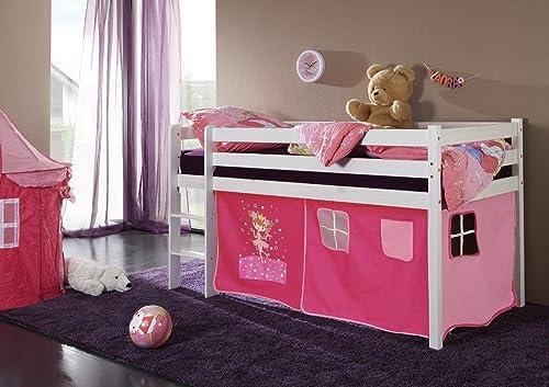 Eternity-Moebel Spielbett Hochbett JANET Kinderbett in 90 x 200 cm Kiefer Weiß inkl. Rollrost