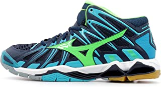 MIZUNO Wave Tornado X2 MID Men's Volleyball Shoes, Dress Blue/Green Gecko/Peacock Blue