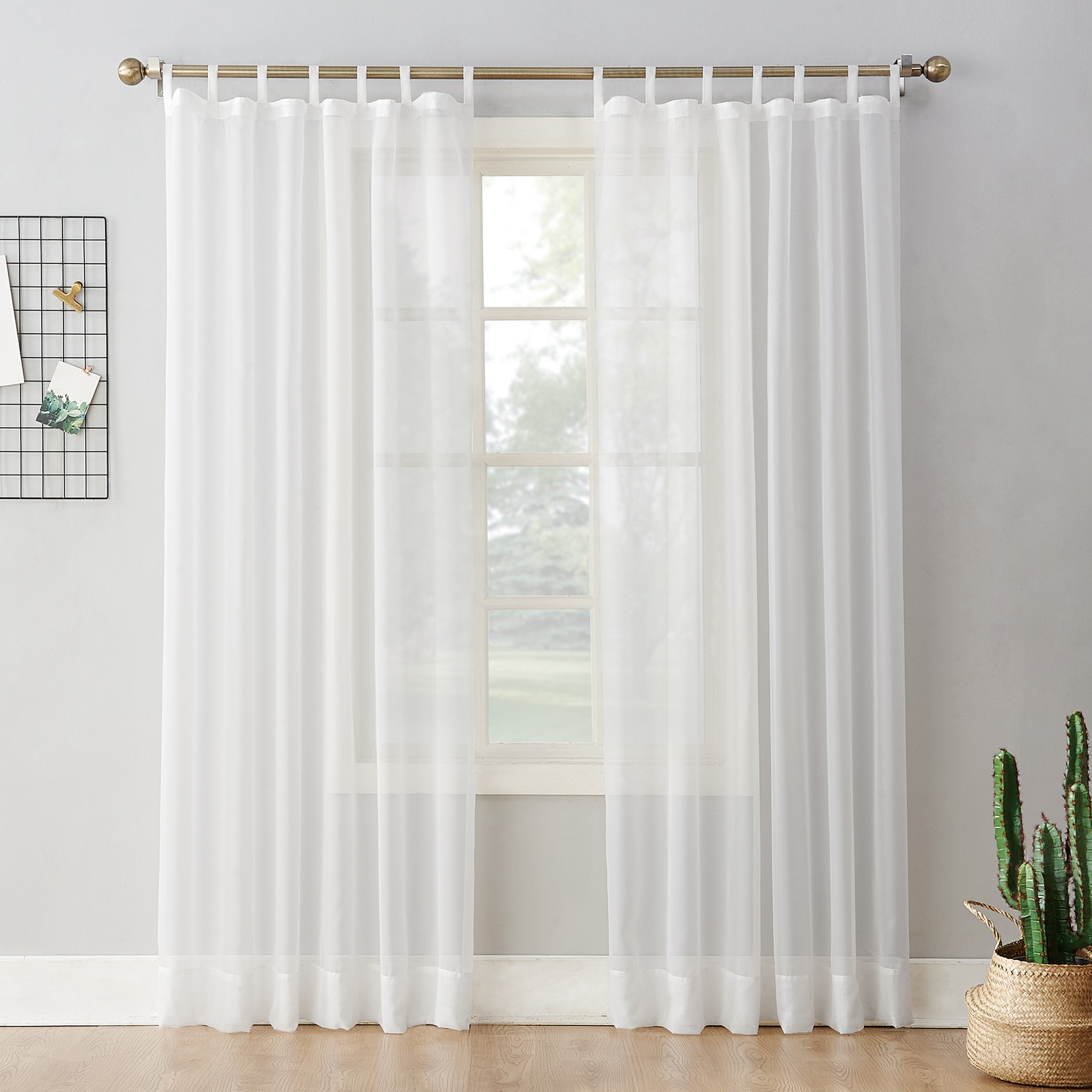 Amazon Com No 918 52457 Emily Sheer Voile Tab Top Curtain Panel 59 X 95 White Home Kitchen