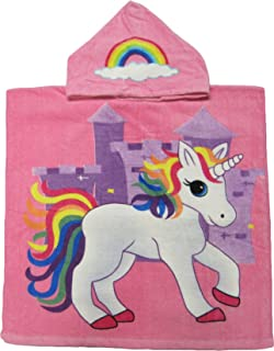 Kreative Kids Pink Unicorn 100% Cotton Poncho Style Hooded Bath & Beach Towel with Colorful Double Sized Design