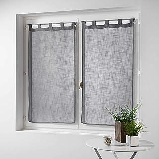 douceur d'intérieur Haltona Paire Droite Passants Effet Lin Tisse Haltona Polyester, Gris, 90x60 cm