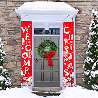2 Pieces Christmas Porch Sign Christmas Banner Decoration Outdoor Indoor Red Xmas Decor Banner Christmas Door Banner Welcome Christmas Outdoor Sign with Plastic Rod and Hanging Ropes