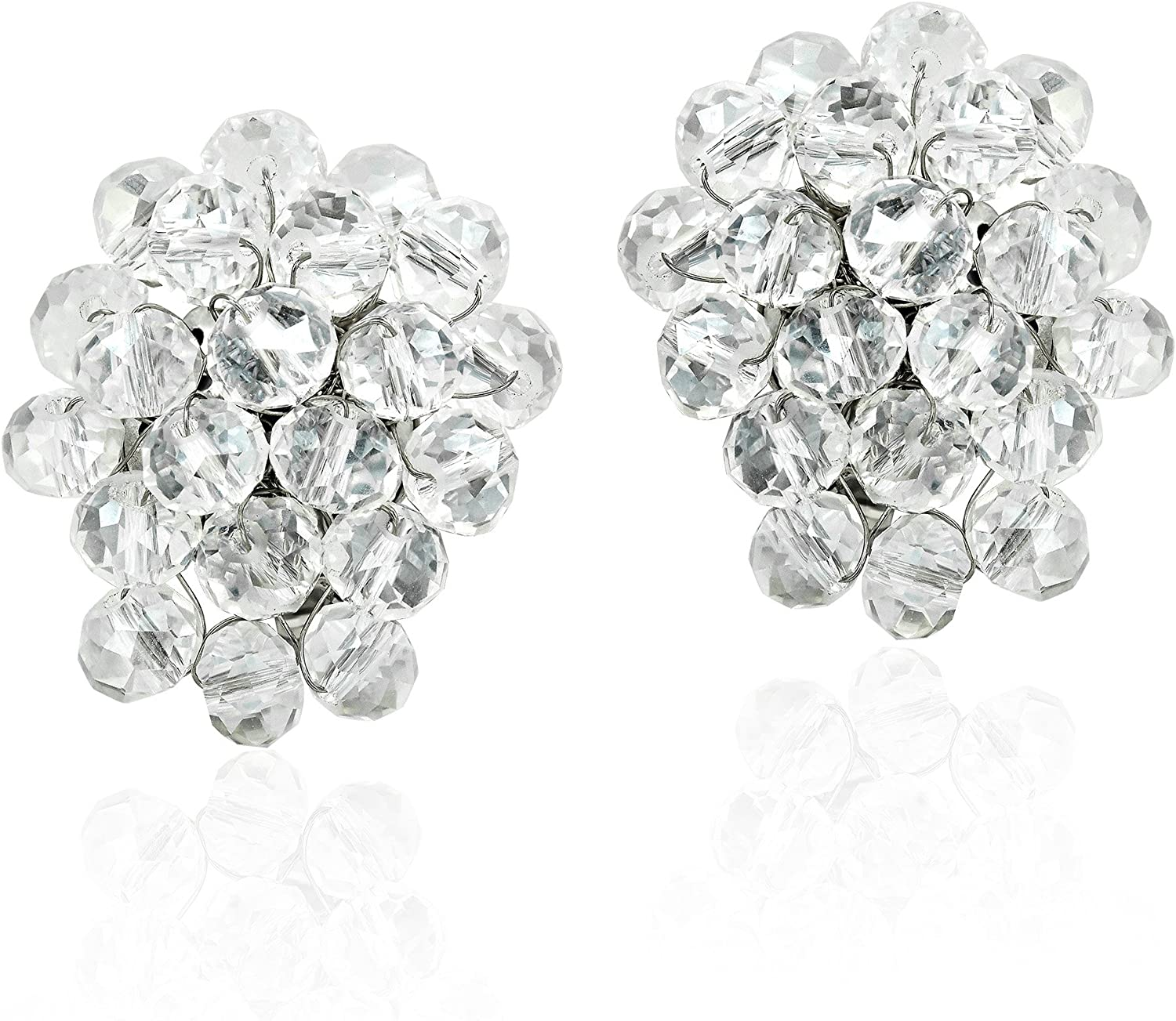 Disco Bling Sparkly Crystal Cluster Clip On Earrings
