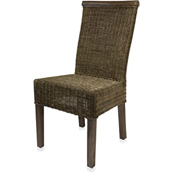 Ramira On Solid Wood Frame Rattan Chair Dining Chair Palm Skin Amazon De Kuche Haushalt