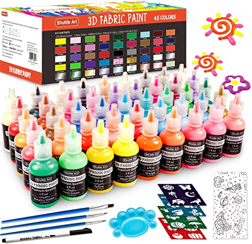 Fabric Paint Set, Shuttle Art 45 Colors 3D Permanent Paint with Brushes Palette Fabric Pen Fabric Sheet Stencils, Glo...