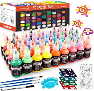 Fabric Paint Set, Shuttle Art 45 Colors 3D Permanent Paint with Brushes Palette Fabric Pen Fabric Sheet Stencils, Glow in ...