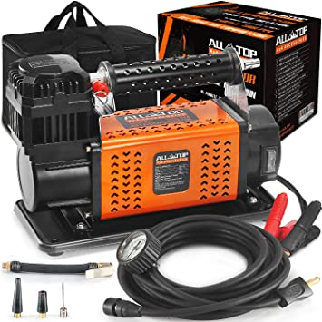 ALL-TOP Heavy Duty Portable 12V Air Compressor Kit Inflate 180L (6.35Ft³)/Min Max 150PSI Metal Heat Dissipation ensures Duty Job for Pros Includes a 1680D Rugged Carry Bag for 4x4 Vehicle: image