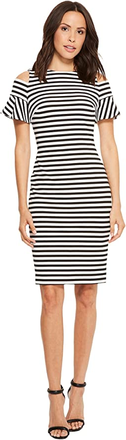 Calvin klein striped side ruched maxi dress