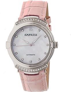 Empress - Francesca EMPEM2202 - Reloj automático MOP con correa de piel, color blanco y rosa claro