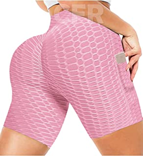 Butt Lifting Cycling Shorts with Pockets Scrunch/Ruched Butt Shorts High Waist Running Shorts with Pockets Anti Cellulite