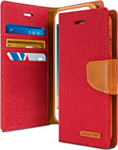 Goospery Canvas Wallet for Apple iPhone 8 Plus Case (2017) iPhone 7 Plus Case (2016) Denim Stand Flip Cover (Red) IP7P-CAN-RED