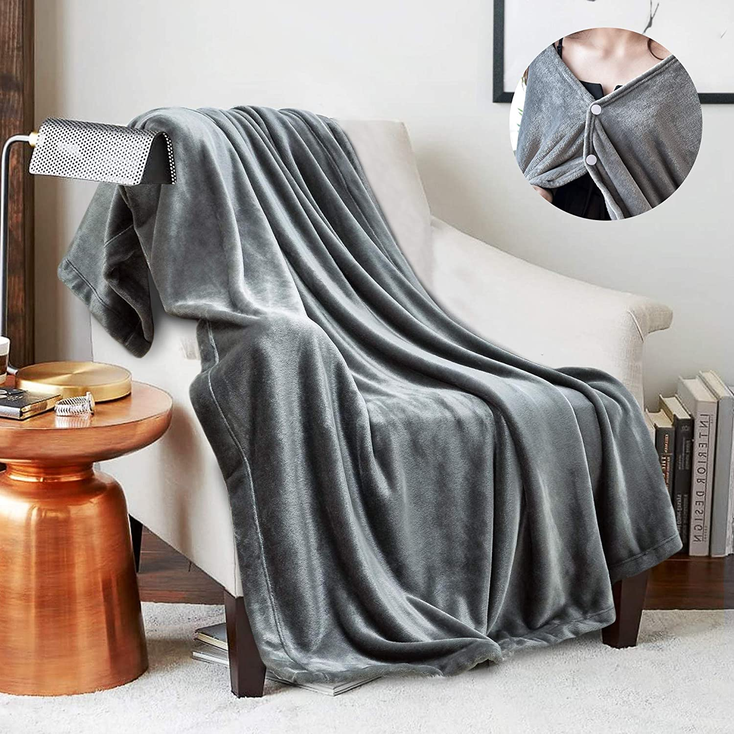 """JS HOME Throw Size Wearable Fleece Blanket Throw, Super Soft and Cozy Blanket for All Season, Luxury Lightweight Plush Warm Blanket, Flannel Microfiber Blankets for Couch, Sofa, Bed, Grey, 50""""x 60"""" : Home & Kitchen"""