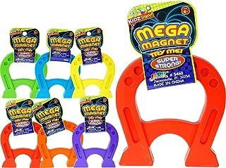 (6 Units, Mega Magnet) - JA-RU Mega Magnet Toy 12cm Inches (6 Units Assorted Colour) U Shaped Horseshoe Magnets for Kids a...