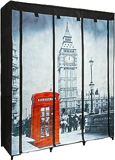 ONVAYA® Armoire en tissu noir   Armoire pliante avec motif Londres   Penderie en tissu   Armoire textile avec tringles.