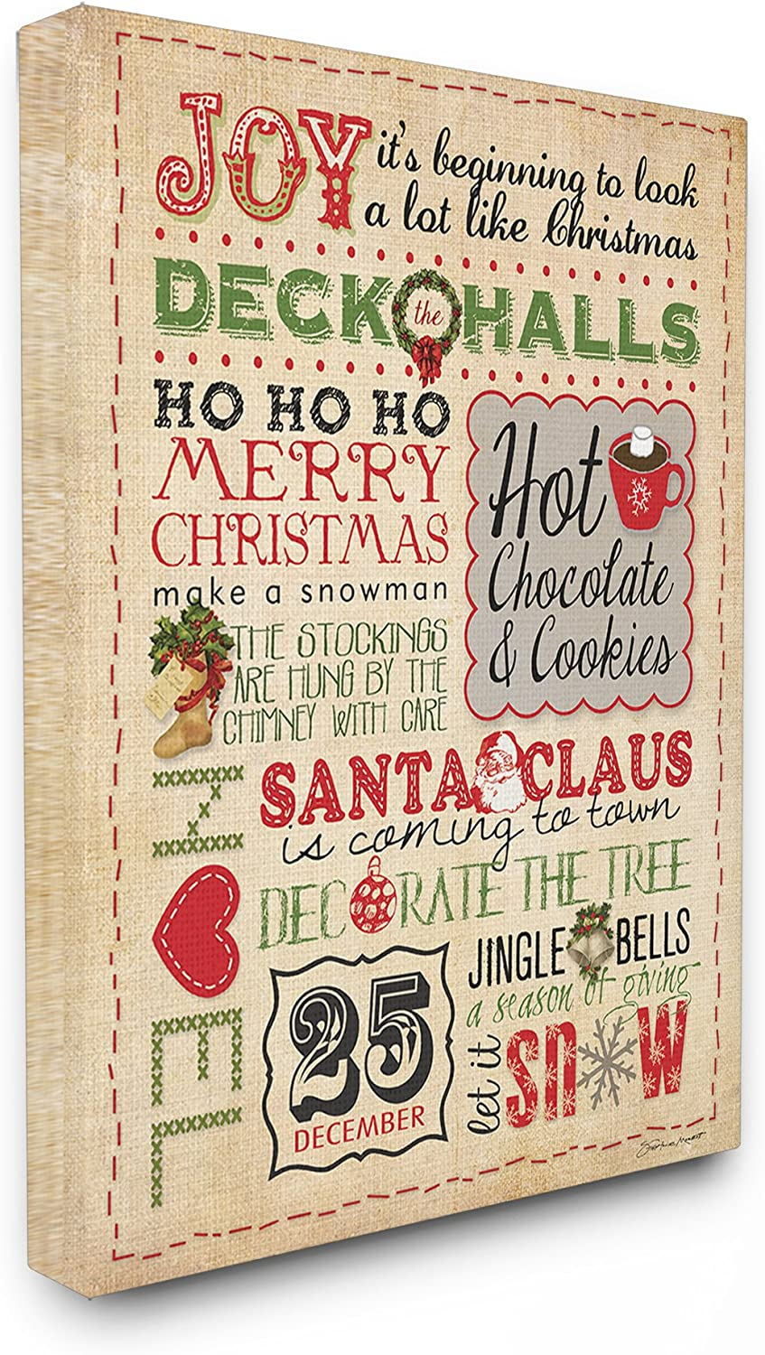 The Stupell Home Decor Collection Joy Deck The Halls Typography Stretched Canvas Wall Art