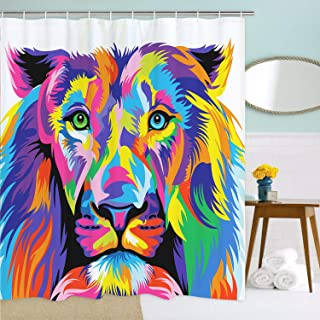 BLEUM CADE Watercolor Lion Shower Curtain Art Painting Bathroom Shower Curtain Durable Waterproof with 12 Hooks