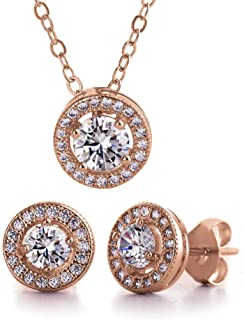 MIA SARINE Round Cubic Zirconia Halo Earrings and Pendant Set in 925 Sterling Silver (Various Colors)