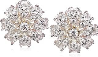 Women's Silver/Crystal CZ Flower EZ Comfort Clip Button Earrings, Size 0