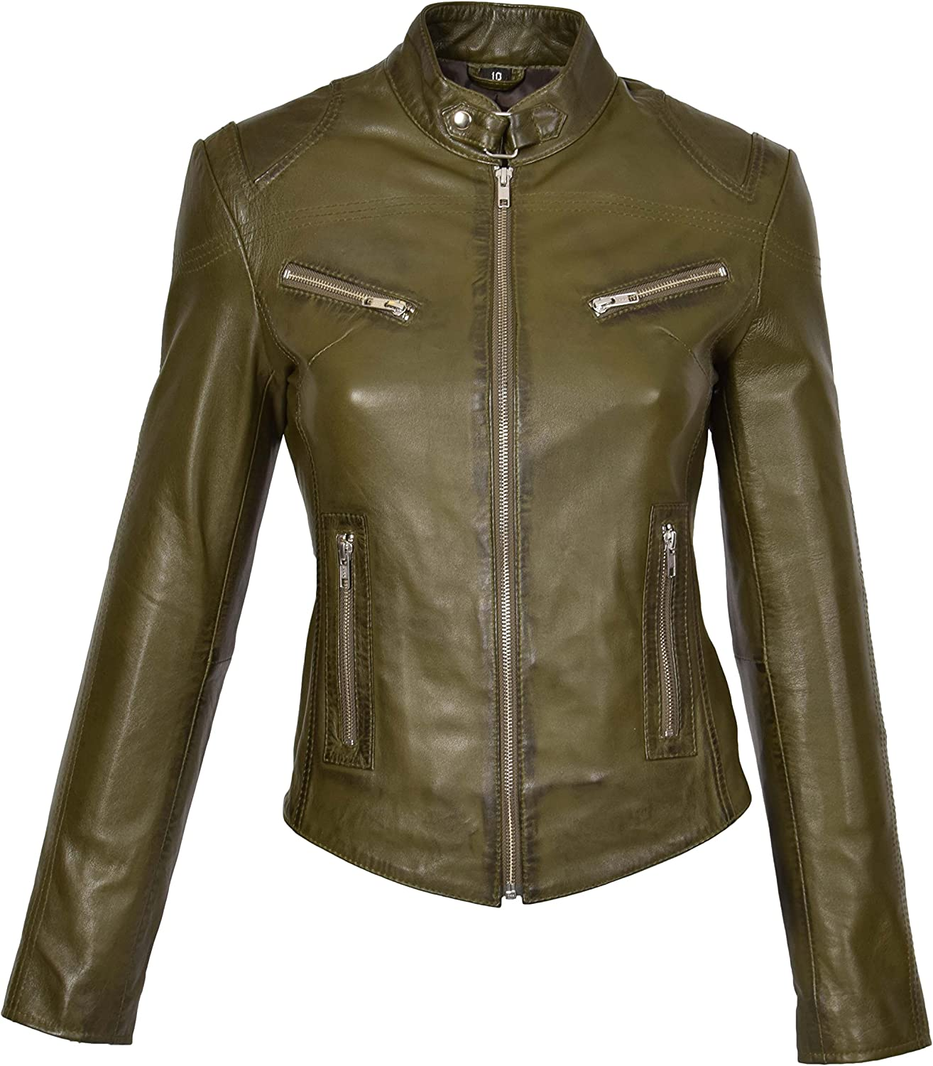 Ladies Genuine Leather Biker Style Slim fit Casual Jacket Khloe Olive Green