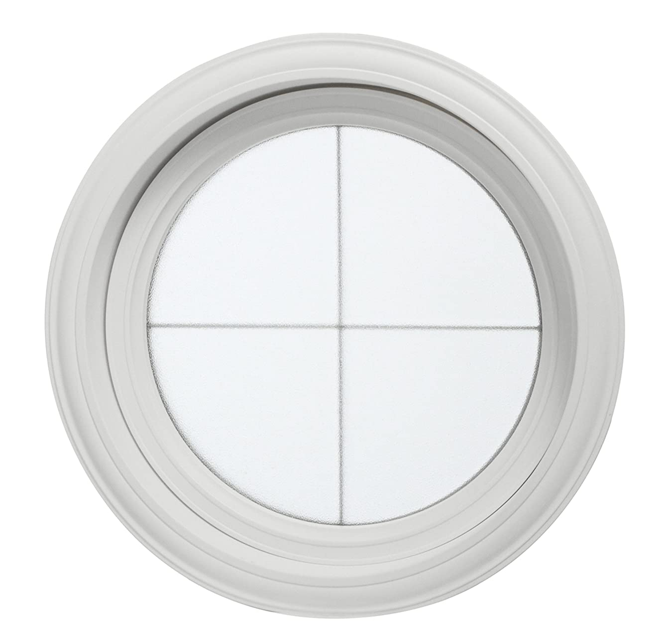 Park Ridge Vinyl Round Fixed Window with Platinum Cross & Obscure Glass, 24.5