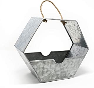 GRILA Hanging Wall PLANTERS Bird Feeder - Galvanized Hexagonal Farmhouse Style Wall vase, Candle Holder, Antique Metal Wal...