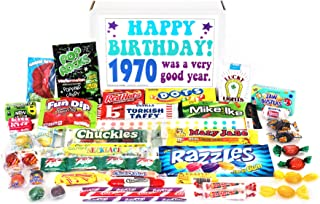 Woodstock Candy ~ 1970 49th Birthday Gift Box Nostalgic Retro Candy Mix from Childhood for 49 Year Old Man or Woman Born 1970 Jr