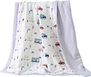 J-pinno Cars Bus Truck Cute Muslin Quilt Blanket Bedding Coverlet Twin, 100% Cotton, Comforter Bedspread Throw Blanket for Kid's Boys Girls Bedroom Decoration Gift (4, Twin 59