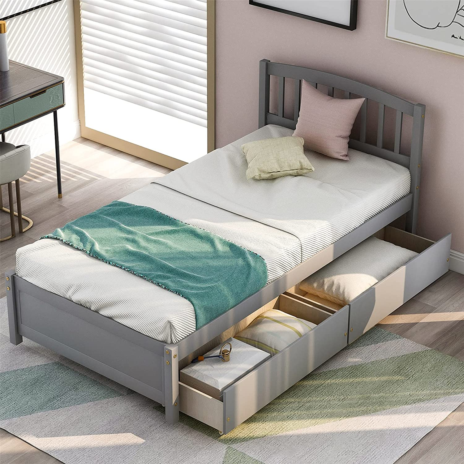 Twin Storage Bed Frame Wood Platform Drawers Regular store and H Two with Max 84% OFF