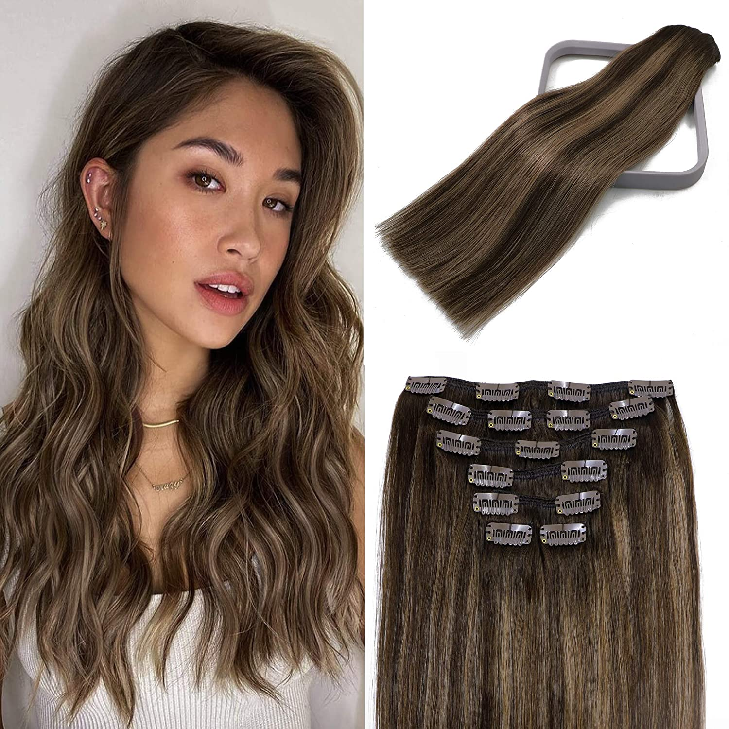 Clip In Hair Extensions Human to Online limited product Balayage Dark Brown Bargain Chestn