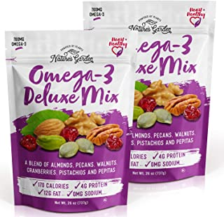 Nature's Garden Omega-3 Deluxe Nut Mix with Almonds - Natural & Functional Snacks Delicious & Tasty Flavor Fiber & Healthy...