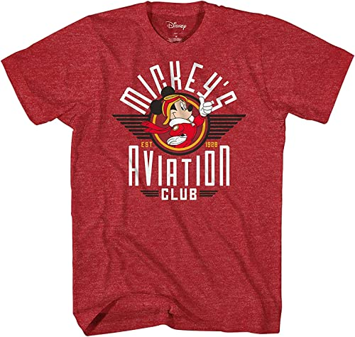 Disney Mickey Mouse Aviation Club 1928 Pour des hommes T-Shirt (Medium, Heather rouge)