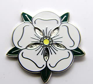 Yorkshire White Rose Enamel Badge in Gift Pouch