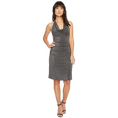 Nicole Miller Glitz Cowl Dress (Black/Silver) Women