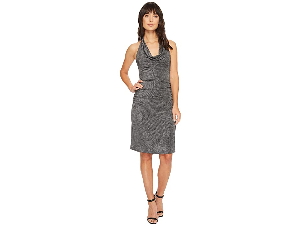 Nicole Miller Glitz Cowl Dress (Black/Silver) Women
